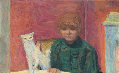 (detail) Pierre Bonnard, Woman with Cat, or The Demanding Cat, c. 1912, oil on c