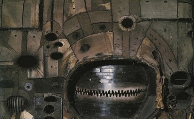 (detail) Lee Bontecou, Untitled, 1961, Welded steel, canvas, wire, and rope, 72