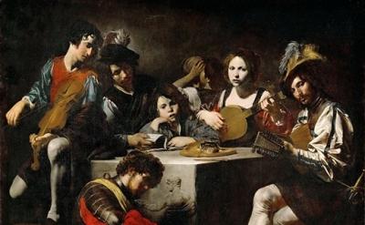 Valentin de Boulogne, Concert with Bas-Relief, c. 1624 (Louvre, Paris)