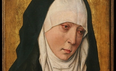 (detail) Workshop of Dieric Bouts, c. 1410–1475, Mater Dolorosa (Sorrowing Virgi