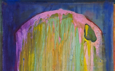 (detail) Frank Bowling, Upright, 2012, acrylic on canvas, 74 x 53 inches (courte