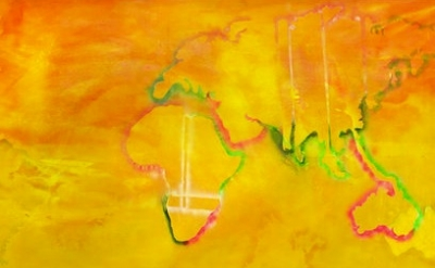 (detail) Frank Bowling, Australia to Africa, 1971 (courtesy of the artist and Ha