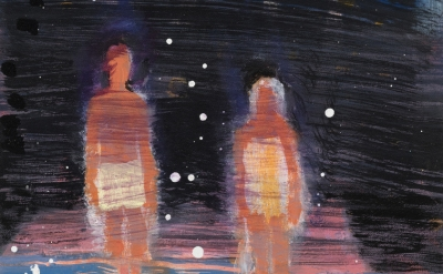 (detail) Katherine Bradford, Waders Under Stars, 2016, acrylic on canvas, 20 x 1