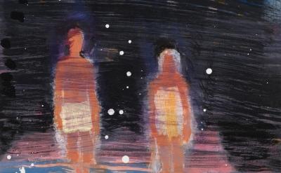 (detail) Katherine Bradford, Waders Under Stars, 2016, acrylic on canvas, 20 x 1