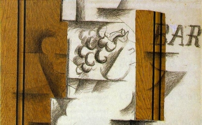 (detail) Georges Braque, Fruit dish and glass, 1912, papier collé and charcoal o