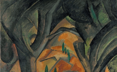 (detail) Georges Braque, Trees at L'Estaque, summer 1908 (Promised Gift from the