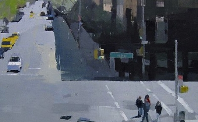 (detail) Lisa Breslow, From the High Line, 2012, oil and pencil on panel, 24 x 2