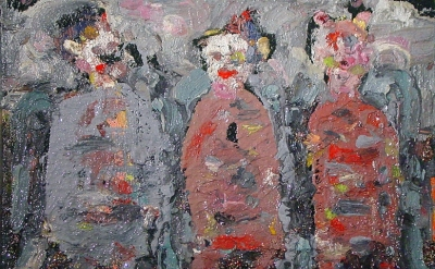 Farrell Brickhouse, The Magi II- Who, Where Why, 2013, oil/ glitter on canvas, 1