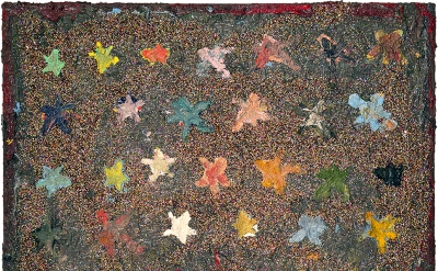 Farrell Brickhouse, Stars 1, 2016, oil, glitter on canvas, 16 x 20 inches (court