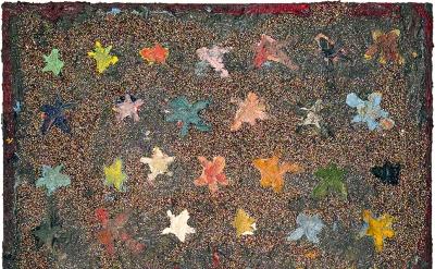Farrell Brickhouse, Stars 1, 2016, oil, glitter on canvas, 16 x 20 inches (court