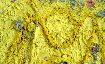 (detail) Farrell Brickhouse, Yellow Coaster, 2004- 2014, oil, mixed media on can