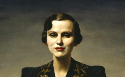 (detail) Gerald Leslie Brockhurst, Portrait of Margaret, Duchess of Argyll circa