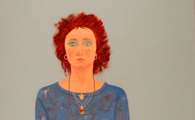 (detail) Joan Brown, Self-Portrait at Age 42, 1980, enamel on canvas (courtesy o