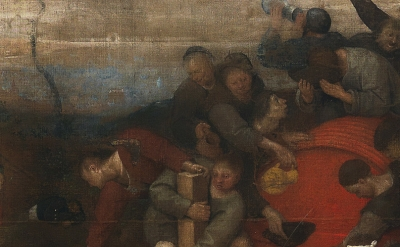(detail) Peter Bruegel, Wine of St. Martin's Feast Day, 1566 – 1567, tempera on linen, 148 x 270.5 cm (Prado Museum)