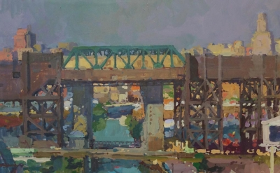 Derek Buckner, View of Gowanus, gouache, acrylic and oil on panel, 11 x 14 inches (courtesy of George Billis Gallery)