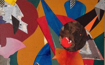 (detail) John Bunker, Shattered Fugue, 2014, mixed media collage on MDF, 44 x 51