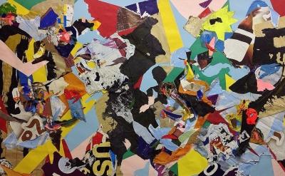 (detail) John Bunker, Tarantula, 2015, 170 x 270 cm, mixed media collage (courte