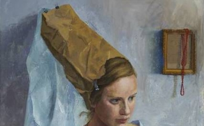 (detail) Avital Burg, Potrait of Adi as Maria Portinari, 2014, 60 in x 50 inches