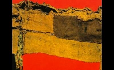 (detail) Alberto Burri, Sacking and Red, 1954, Photograph: Tate, London © Fondaz
