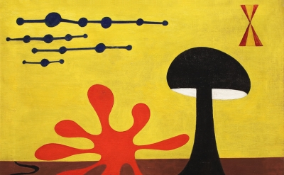 Alexander Calder, Untitled, 1945, oil on canvas, 24 x 26 inches (Courtesy of Jack Rutberg Fine Arts)