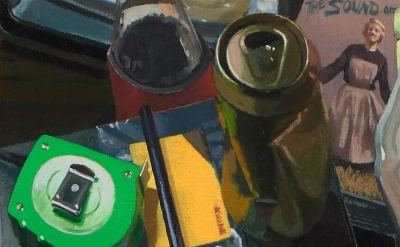 (detail) Neil Callander, Dusty's Workspace, oil on muslin on panel, 38 x 38 inch