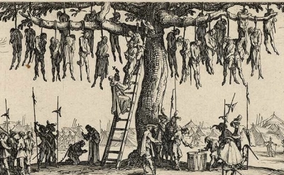 (detail) Jacques Callot, The Miseries of War; No. 11 - The Hanging (source: Wiki