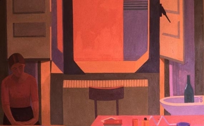 (detail) Caren Canier, Albergo della Lunetta,1983, 60 x 60 inches, oil on canvas