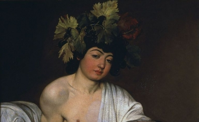 Caravaggio, Bacchus, 1595, oil on canvas, 37 × 33 inches (Uffizi Gallery, Florence)
