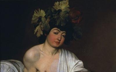 Caravaggio, Bacchus, 1595, oil on canvas, 37 × 33 inches (Uffizi Gallery, Florence)