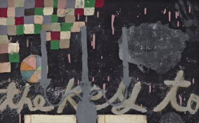(detail) Squeak Carnwath, Mistake, 2011, oil and alkyd on canvas over panel , 30