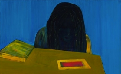 (detail) Caro Niederer, Lesen (Reading), 2011, Oil on canvas, 57 1/2 x 44 7/8 in