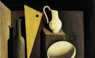 Carlo Carra, Natura Morta con la Squadra, 1917, oil on canvas, 18 x 24 inches (M