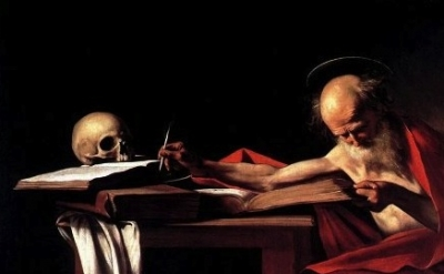 (detail) Caravaggio, St. Jerome Writing, c.1606, 44 × 62 inches (Galleria Borghe