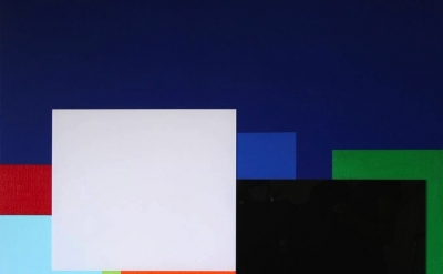 (detail) Marco Casentini, Inside the Blue, Acrylic/Perspex on canvas 44 x 38 inc