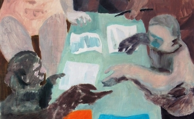 (detail) Ginny Casey, Paperwork, 2012, oil on panel 13 x 14 inches (courtesy of