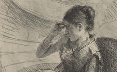 (detail) Mary Cassatt, Woman Seated in a Loge, ca. 1881, Lithograph State: i/ii,