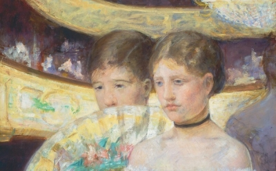 (detail) Mary Cassatt, The Loge, ca. 1878-80, oil on canvas (National Gallery of