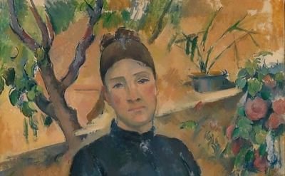 (detail) Madame Cézanne (Hortense Fiquet, 1850–1922) in the Conservatory, 1891 (