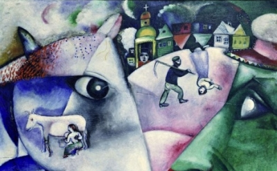 (detail) Marc Chagall, I and the Village, 1911  (Chagall ® /  © ADAGP, Paris and