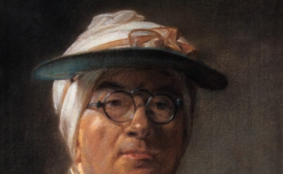(detail) Jean-Siméon Chardin, Self Portrait or Portrait of Chardin Wearing an Ey