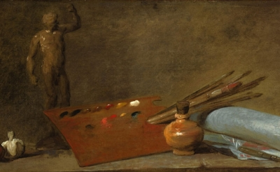 (detail) Jean-Baptiste-Siméon Chardin, Attributs du peintre (Attributes of the P