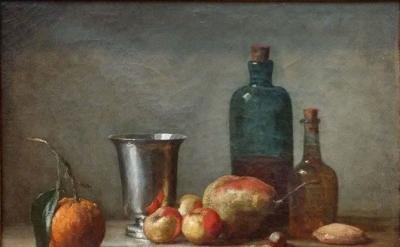 Jean-Baptiste-Siméon Chardin, Seville Orange, Silver Goblet, Apples, Pear and Tw