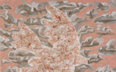 Francesco Clemente, The dove of war, 2012, pigments on linen, 91 x 112 inches (c