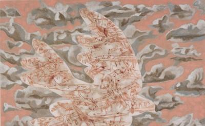 Francesco Clemente, The dove of war, 2012, pigments on linen, 91 x 112 inches (c
