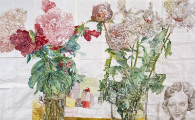 Dawn Clements, Peonies, 2014, watercolor on paper, 69 x 93 inches (photo: Susan