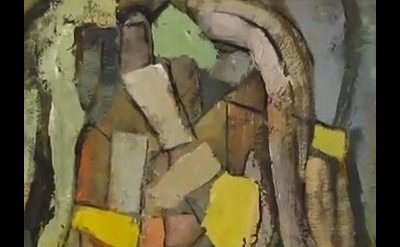 (detail) Painting by Mike Cockrill (video screen capture - courtesy of the artis