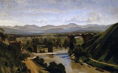 (detail) Jean-Baptiste-Camille Corot, 1825, oil on paper mounted on canvas, 13.4