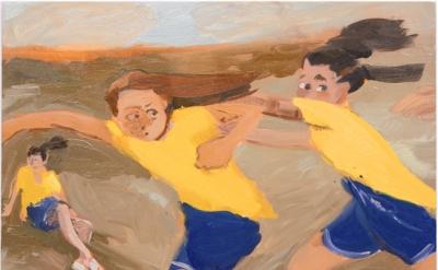 Jane Corrigan, Three GIrls in a Field, 2014 (courtesy of Kerry Schuss Gallery)