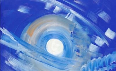 (detail) Ann Craven, Moon (Cushing, 7-21-13, 11:05 PM), 2013, oil on linen, 72 x