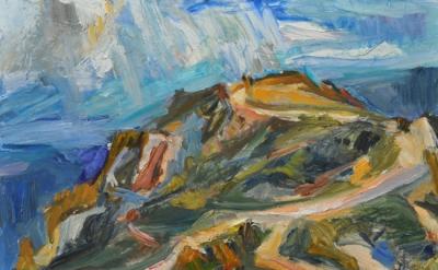 Jane Culp, Ravens Nest Peak Spring, revisited, 2014, oil on board, 20 x 24 inche